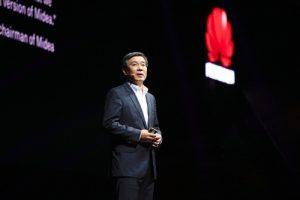 """Yan Lida, president of Huawei Enterprise BG, delivers a keynote speech titled """"Reinventing Business with Industry Clouds"""" (PRNewsFoto/Huawei)"""